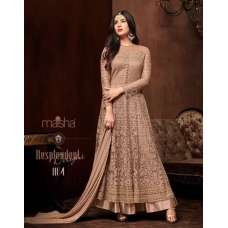 BEIGE EMBELLISHED INDIAN DESIGNER EVENING GOWN