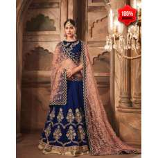 BLUE HEAVY EMBROIDERED PUNJABI WEDDING LEHENGA