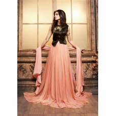 3602 PEACH AND DARK GREEN MAISHA MASKEEN SEEP WEDDING WEAR ANARKALI SUIT