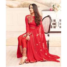 4601 RED MAISHA DESIGNER WEDDING WEAR SLIT STYLE DRESS