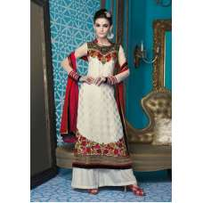 M16003 MEHAK WHITE AND RED GEORGETTE SALWAR KAMEEZ