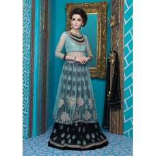 M16012 MEHAK BLACK AND SEA BLUE GEORGETTE SALWAR KAMEEZ