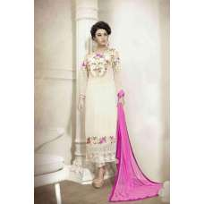 M18011 WHITE MEHAK PARTY WEAR GEORGETTE SALWAR KAMEEZ SUIT
