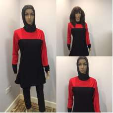Red Long Sleeve Muslim Islamic Full Cover Black Costume Modest Swimwear Burkini