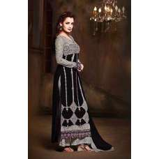 26003-B BLACK AND GREY MOHINI GLAMOUR SEMI STITCHED SALWAR SUIT