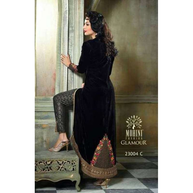 7b2afdf6a9d5d M23004-C BLACK MOHINI COLOUR ADDICTION VELVET LEHENGA SUIT | Mohini ...