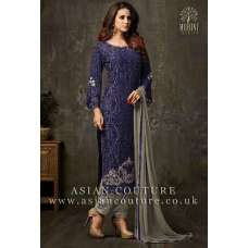 LAVISHING BLUE AND GREY PARTY WEAR SALWAR SUIT