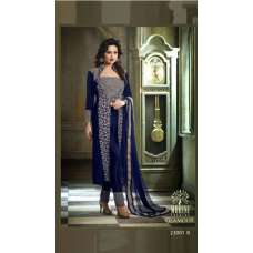 M23001-B BLUE MOHINI COLOUR ADDICTION VELVET SUIT
