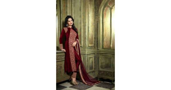 daefa58794993 M23001-C RED MOHINI COLOUR ADDICTION VELVET SUIT | Mohini Glamour Velvet  Suits | Asian Couture