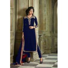 M23002-C NAVY BLUE MOHINI COLOUR ADDICTION VELVET SUIT