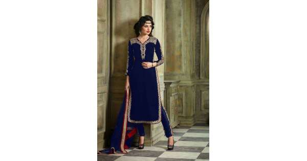 e472229725418 M23002-C NAVY BLUE MOHINI COLOUR ADDICTION VELVET SUIT | Mohini Glamour Velvet  Suits | Asian Couture