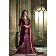 M23004-B MAROON MOHINI COLOUR ADDICTION VELVET LEHENGA SUIT