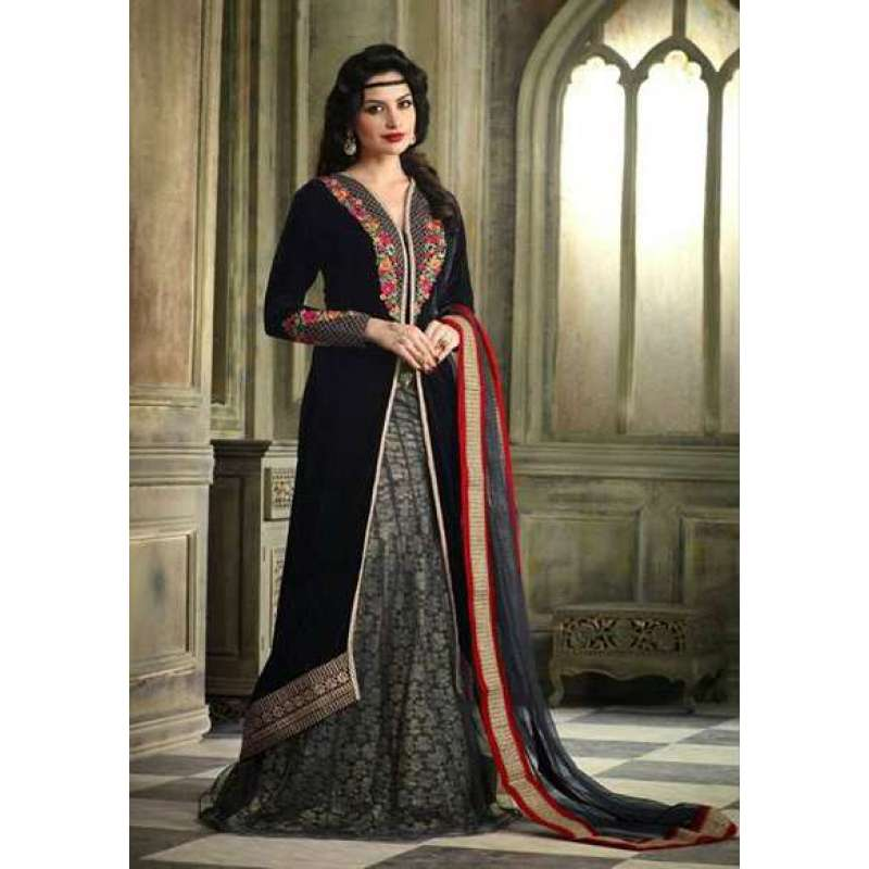 ec801a7f4cd64 M23004-C BLACK MOHINI COLOUR ADDICTION VELVET LEHENGA SUIT | Mohini Glamour Velvet  Suits | Asian Couture