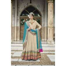 M24002 BEIGE AND SKY BLUE MOHINI HEAVEY EMBROIDERED ANARKALI DRESS