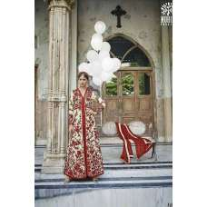 M24005 RED AND BEIGE MOHINI HEAVEY EMBROIDERED ANARKALI DRESS