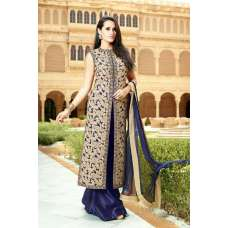 27007 BLUE AND GOLDEN MOHINI GLAMOUR DESIGNER DRESS