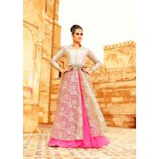 35003 BEIGE AND PINK MOHINI GLAMOUR PARTY WEAR SEMI STITCHED LEHENGA