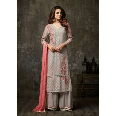 STUNNING SILVER GREY EVENING PARTY WEAR PAKISTANI & INDIAN SALWAR SUIT