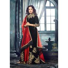 MG40001 BLACK  MOHINI GLAMOUR HEAVY EMBROIDERED VELVET LEHENGA