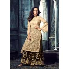 MG40002 GOLD MOHINI GLAMOUR HEAVY EMBROIDERED VELVET PLAZZO DRESS