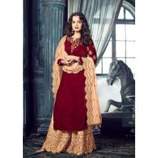 MG40005 RED MOHINI GLAMOUR HEAVY EMBROIDERED PLAZZO SUIT