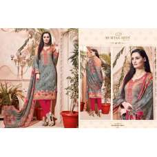 301 GREY AND RED CAMBRIC COTTON AND LAWN SALWAR SUIT