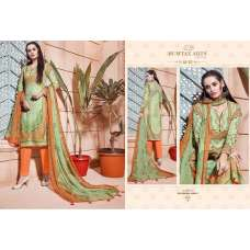 308 NILE GREEN AND ORANGE CAMBRIC COTTON AND LAWN SALWAR SUIT