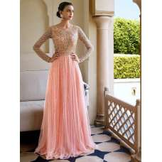 11038 PEACH NAKKASHI EUPHORIA STYLISH ANARKALI LEHENGA DRESS