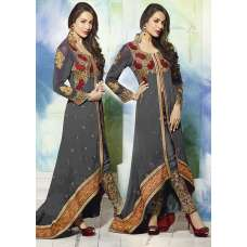 GL3801 GREY GLOSSY MALAIKA ARORA ANARKALI DRESS