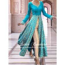SAR002 LIGHT BLUE SEMI STITCHED ROSE ANARKALI SUIT