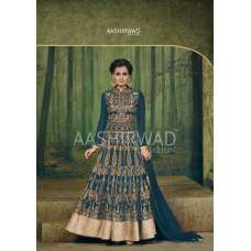 3004-D TEAL BLUE AASHIRWAD DIA MIRZA HEAVY EMBROIDERED WEDDING DRESS