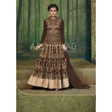 3004-A BROWN AASHIRWAD DIA MIRZA HEAVY EMBROIDERED WEDDING DRESS