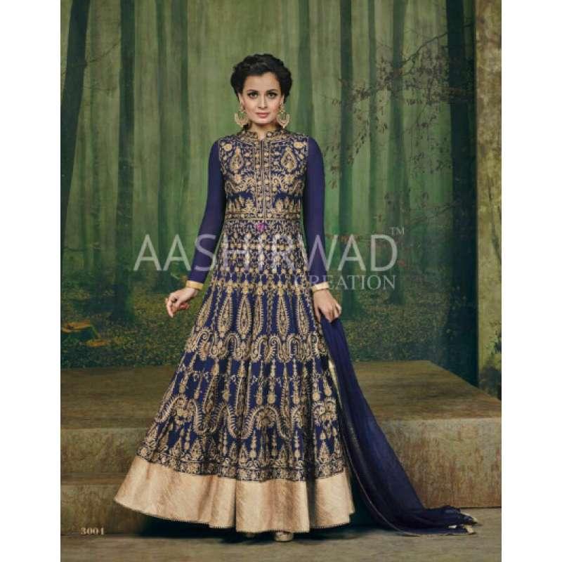 501829e1e5b DIA MIRZA HEAVY EMBROIDERED WEDDING ANARKALI BLUE DRESS 3004 AASHIRWAD