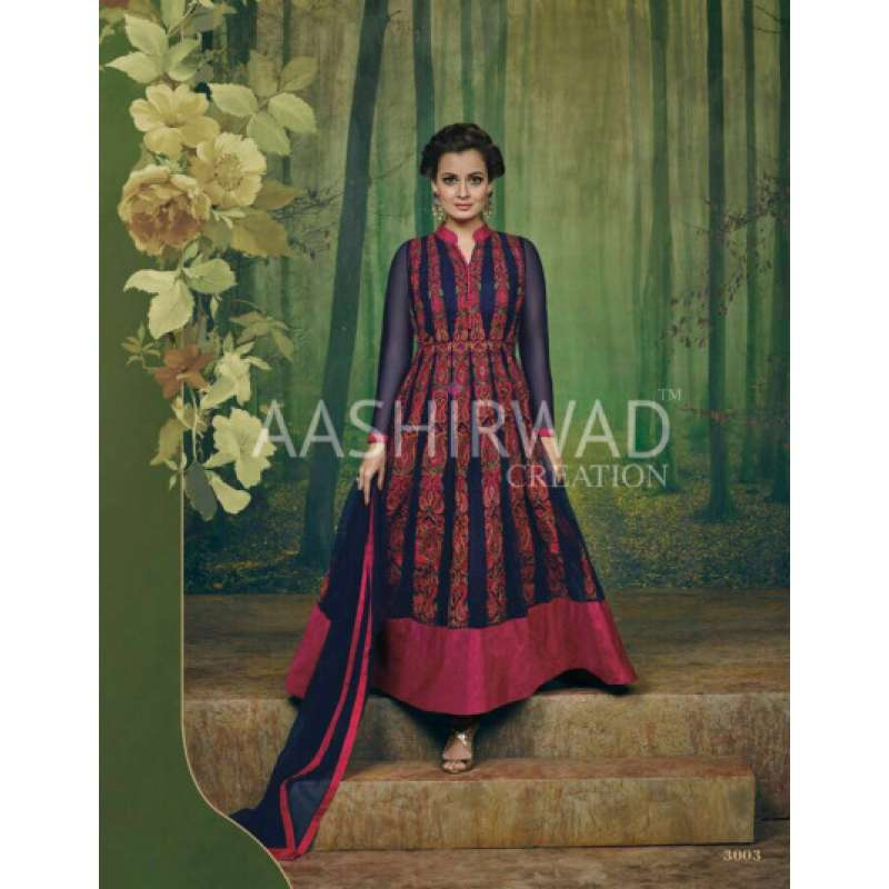 c024a4a99e1 3003 navy blue aashirwad dia mirza heavy embroidered wedding dress