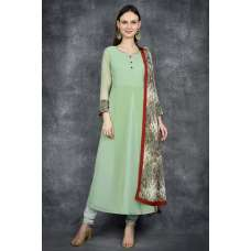 Biscay Green A Line Churidar Suit
