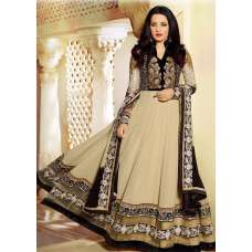 BESTSELLER AF5503 AAFREEN ADAA BEIGE AND BLACK FLOOR LENGTH ANARKALI DRESS