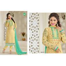 84012 SUNLIGHT YELLOW MF AKSHINA  READY MADE EMBROIDERED CHURIDAAR SUIT