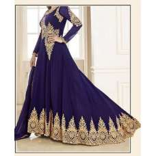 NAVY BLUE HEAVY EMBROIDERED FLOOR LENGTH ANARKALI DRESS