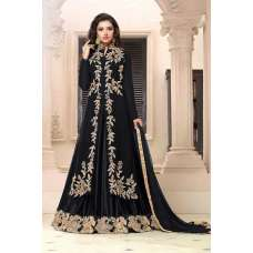 BLACK ETHNIC PARTY WEAR DESIGNER INDO WESTERN SLIT STYLE ANARKALI