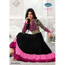 B2122-C Black With Pink Suave Anarkali Salwar Kameez