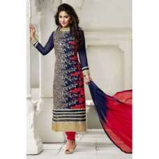 BL001 Blue With Red Blue Heena Salwar kameez Dress