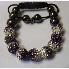 NEW STUNNING PURPLE AND WHITE TWO TONED CRYSTAL BALL BRACELET
