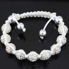 GORGEOUS WHITE SILVER CRYSTAL BALL BRACELET