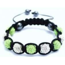 GREEN AND WHITE CRYSTAL BALL BRACELET