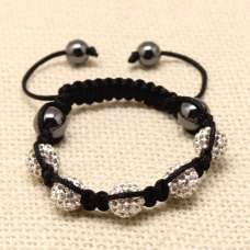 CHILDREN CRYSTAL BALL BRACELET (7 COLOURS, BLACK THREADED)