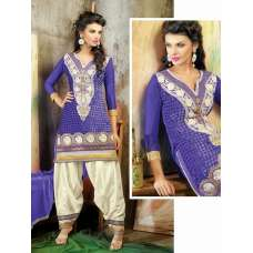 Purple Velvet Brasso Embroidered Long Sleeves Salwar Kameez Suit (purple)