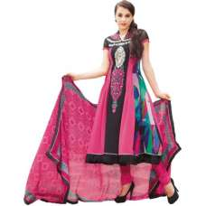 Fl6341B Black and Pink Floral Creations Georgette Salwar Suit