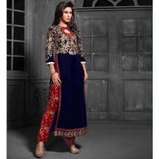 MS12012 Navy Blue With Red MAISHA MASKEEN Dress In Velvet Material