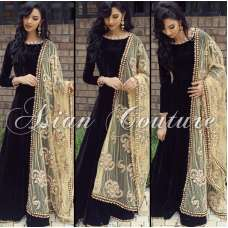 AS-101 BLACK  SEMI STITCHED ANARKALI SUIT WITH EMBROIDERED DUPATTA (3weeks delivery)