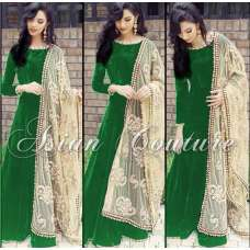 AS-105 GREEN PAYAL SEMI STITCHED ANARKALI SUIT WITH EMBROIDERED DUPATTA